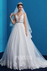 Romantisches Sexy Abwärts-V Kragen Brautkleid 2019 mit Spitze Gipüre Perlen