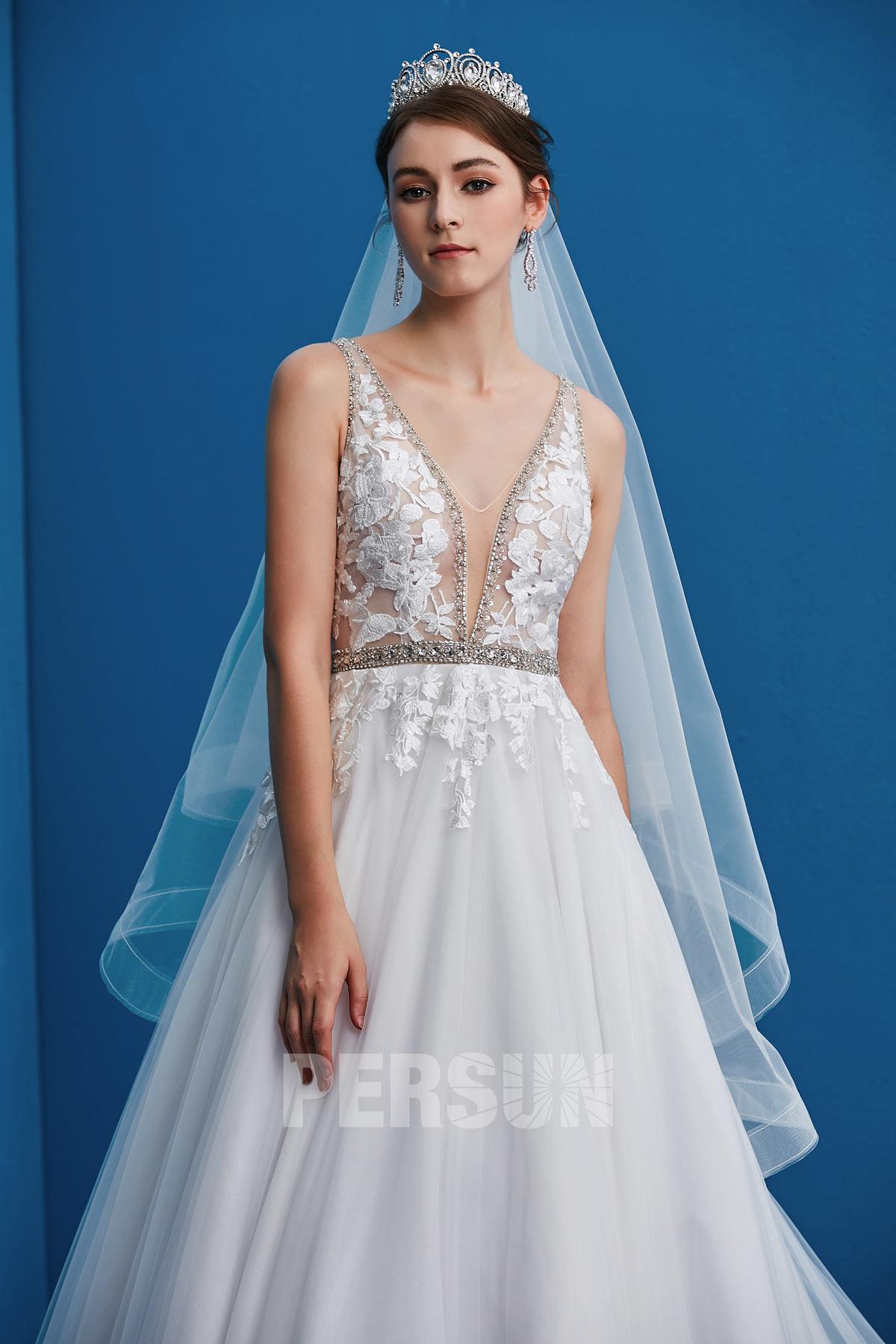 couronne de mariée combinée avec voile simple court