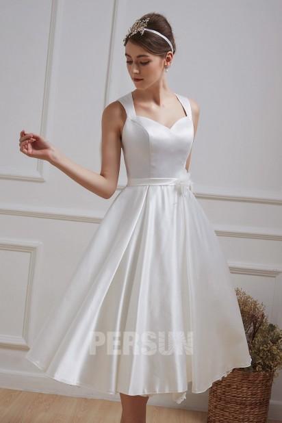 robe de mariée midi simple en satin dos découpé