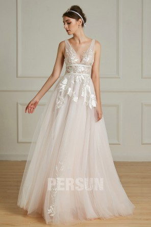 Verlaine : Robe de mariée rose pâle sexy col & dos décolleté en V avec jeu de transparence