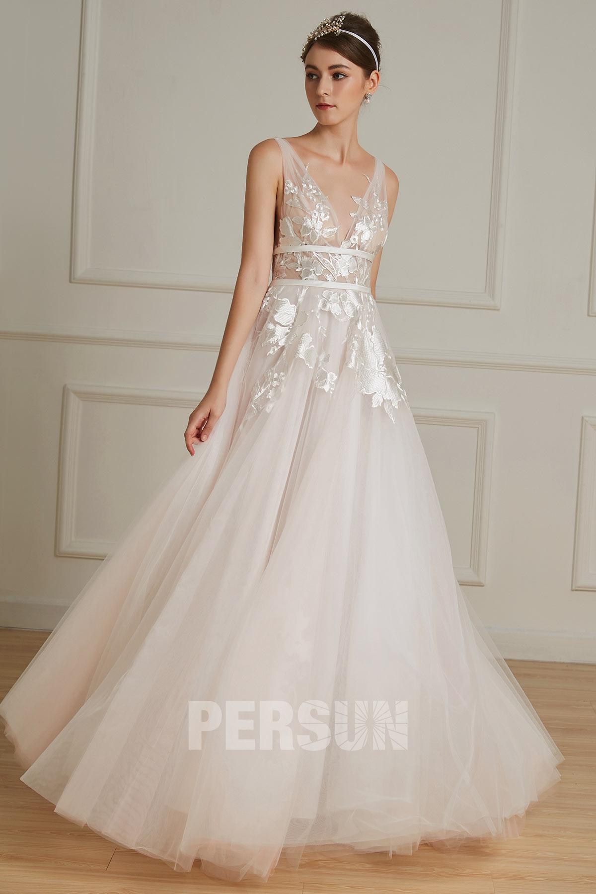 robe de mariée bohème empire rose pâle sexy col v en dentelle appliquée florale