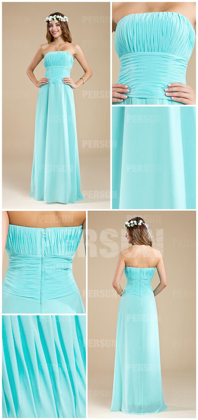 style robe soirée élégante bustier droit turquoise pour demoiselle d'honneur