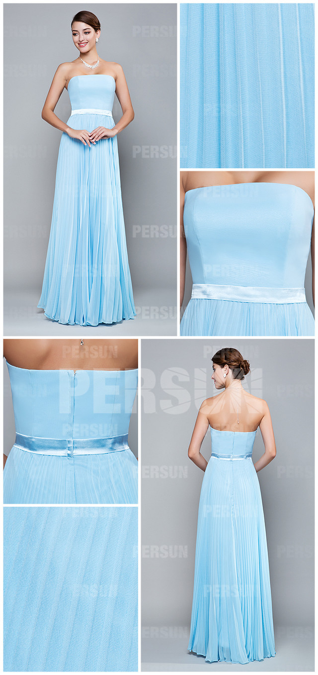 simple robe bleu ciel bustier plissé colonne pour assister à un mariage