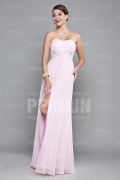 Robe longue rose bustier coeur à dos transparent