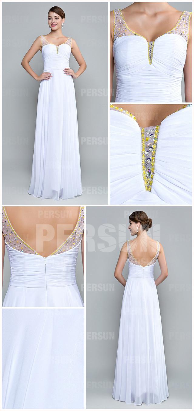 allure robe blanche longue empire plissée dos échancré en U