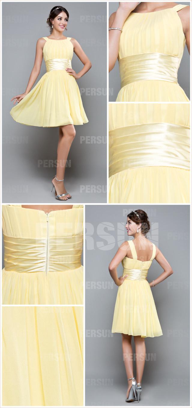 robe de soirée courte jaune pour mariage