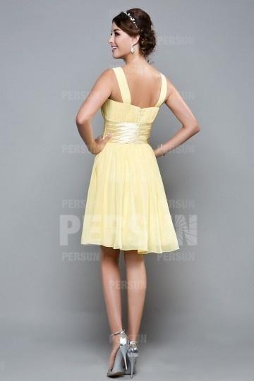 2b2db8bfa1fd2 Robe cocktail femme courte jaune pastel pour mariage en été - Persun.fr