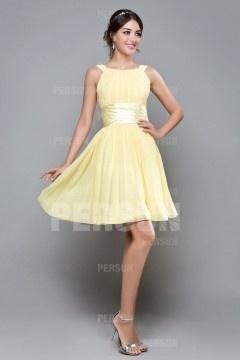 Robe cocktail femme courte jaune pastel pour mariage en été