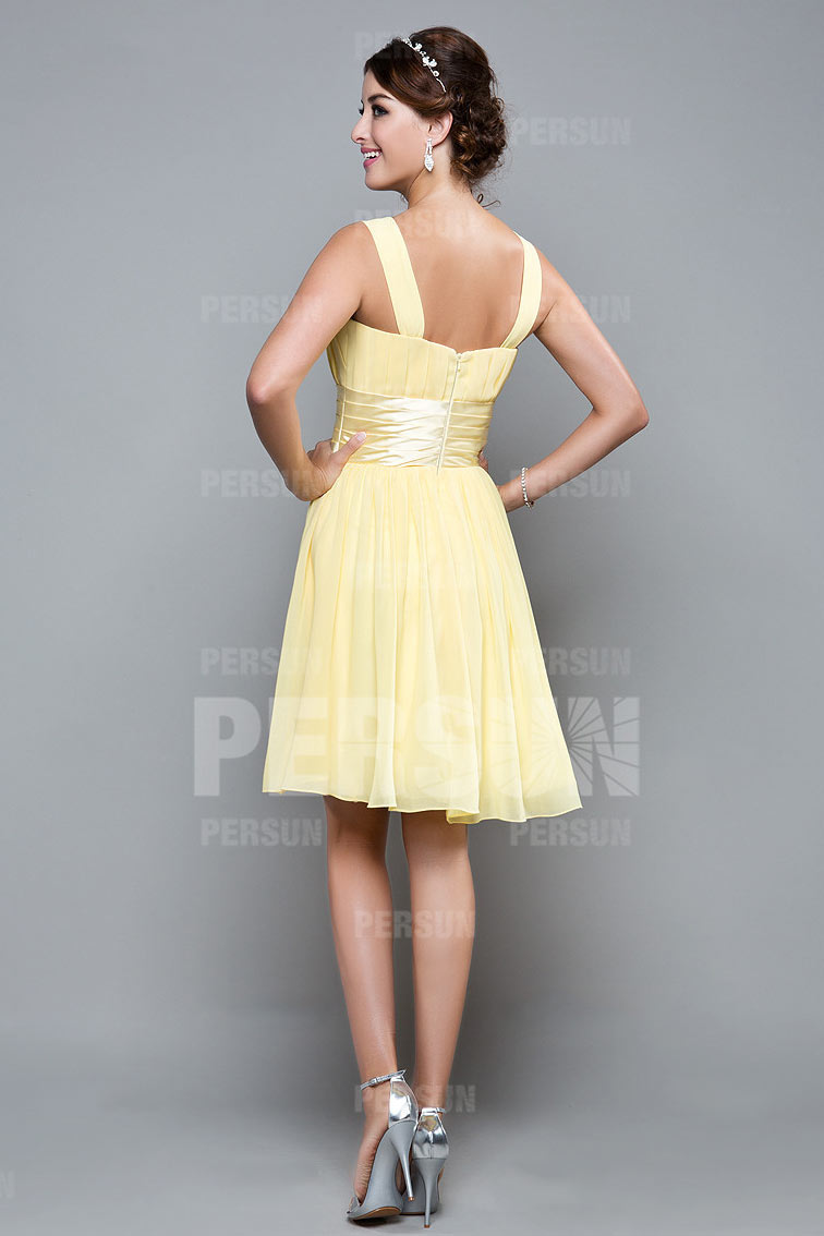 robe cocktail femme courte jaune pastel pour mariage en. Black Bedroom Furniture Sets. Home Design Ideas