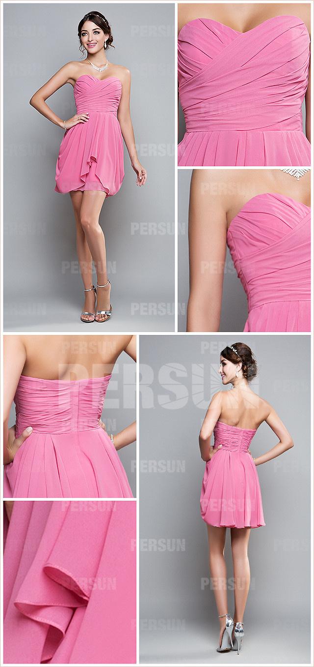 petite robe rose bustier coeur pour demoiselle d'honneur