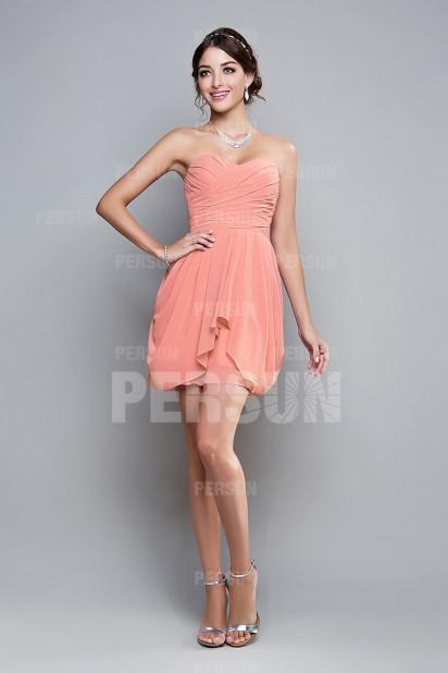 Petite robe bustier cœur pour témoin de mariage thème pêche