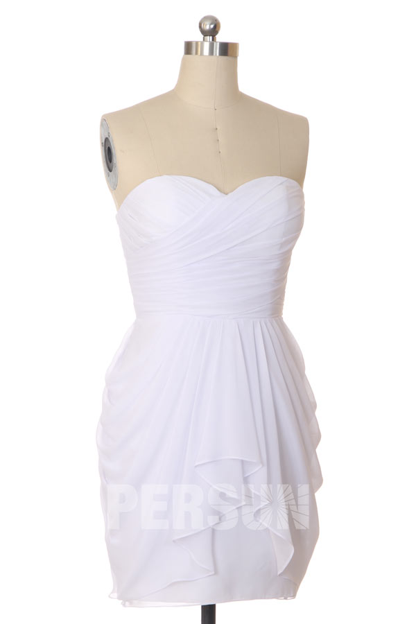 Robe cocktail de mariage empire courte sans bretelle