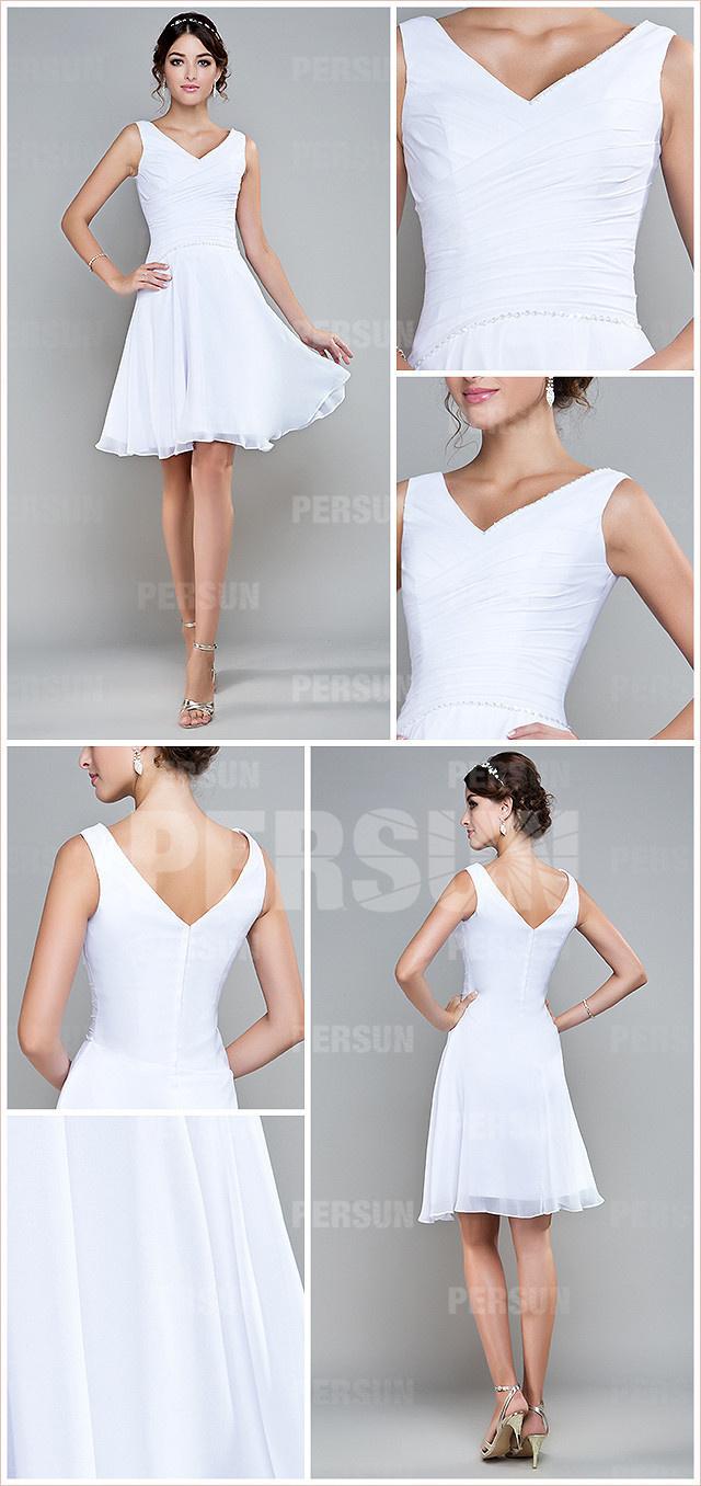 robe de cocktail blanche courte col v