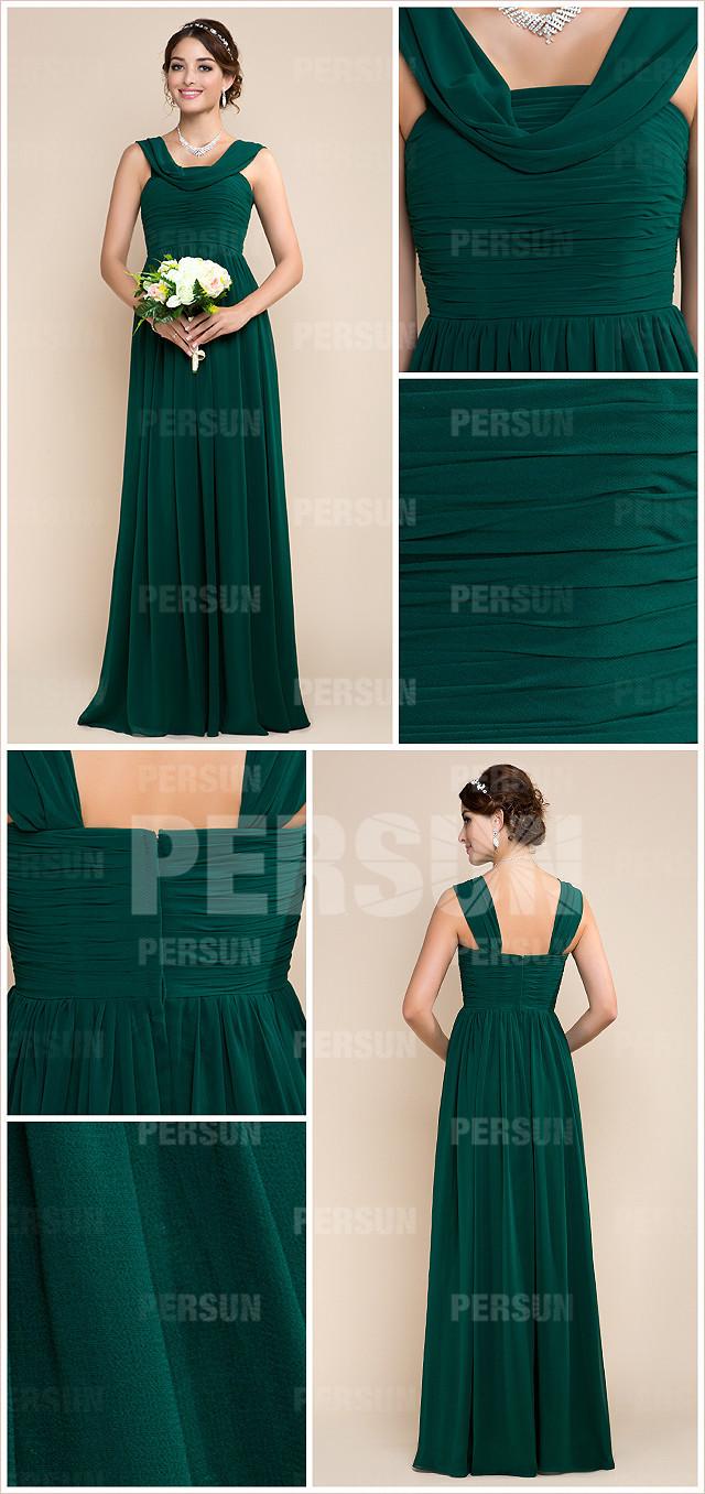 style robe verte sapin col drapé pas cher mousseline pour mariage