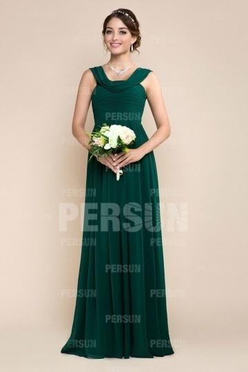 Robe pour cocktail mariage longue en mousseline verte