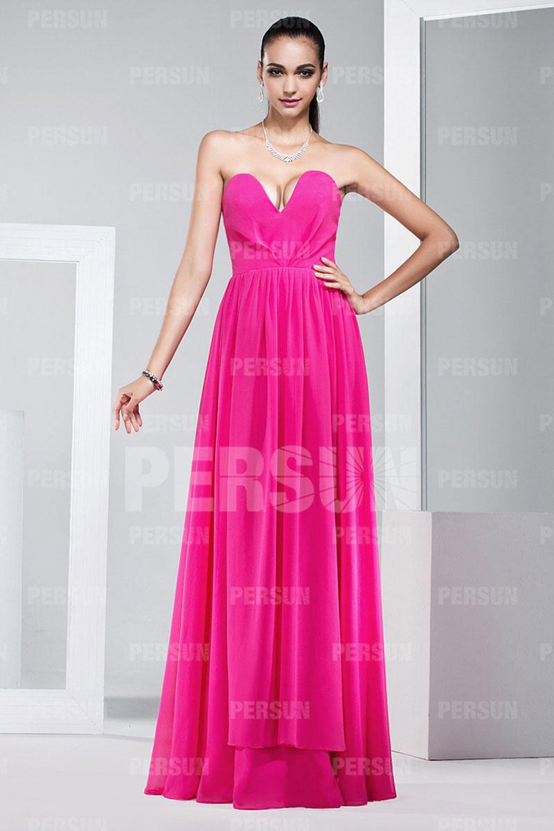 Robe rose fluo longue bustier très décolletée