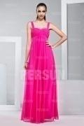 Chic Pink Träger A Linie Bodenlang Ruching Abendkleider aus Chiffon