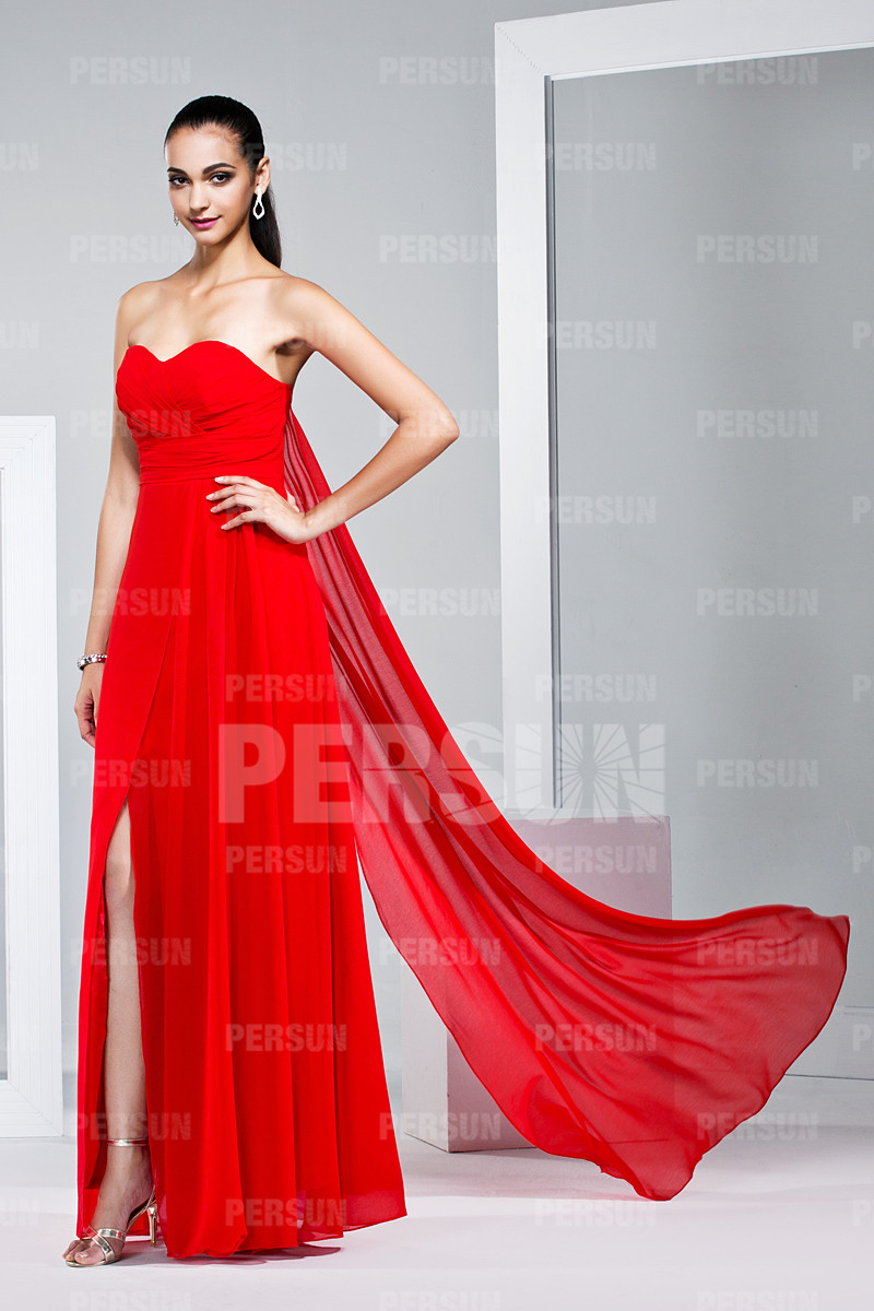 Robe cocktail de mariage bustier rouge style empire longue sol