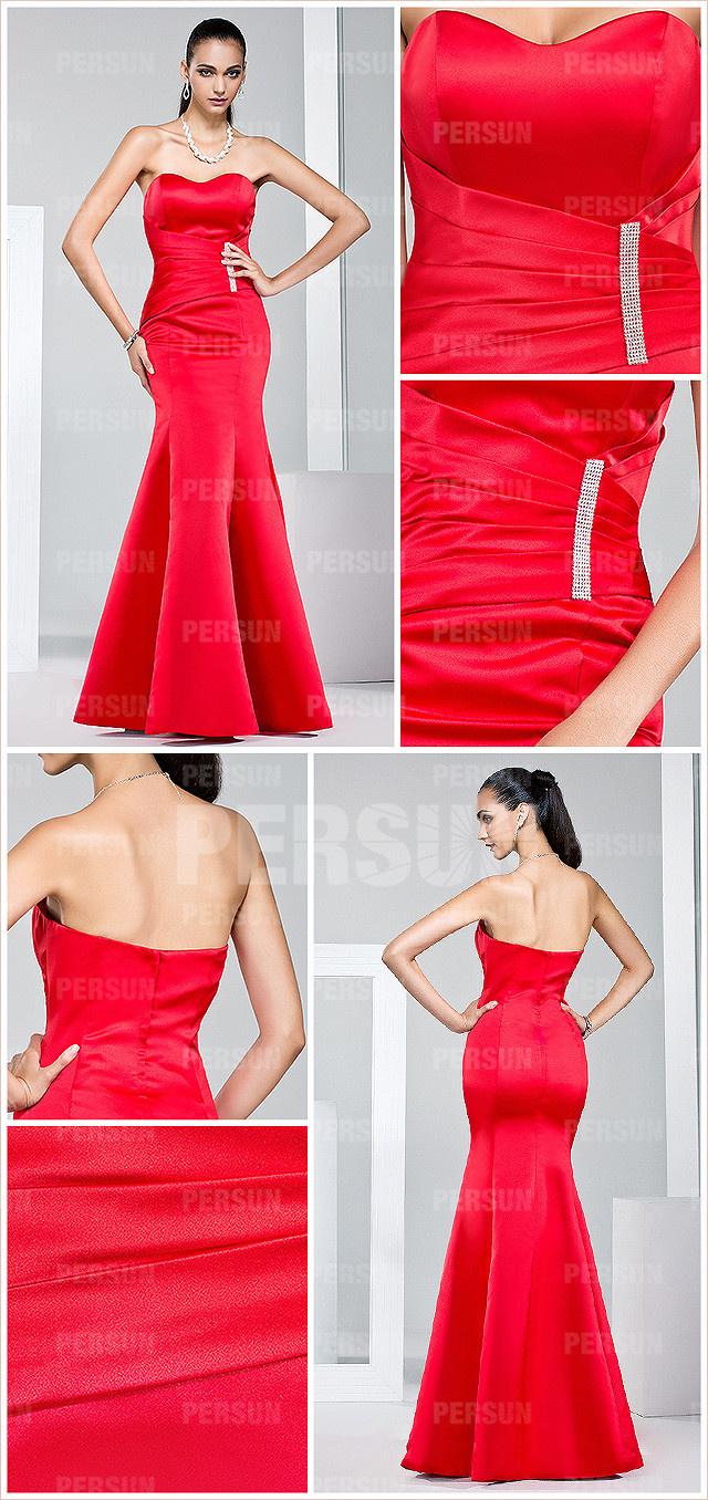 Allure robe rouge chic de gala sirène & moulante