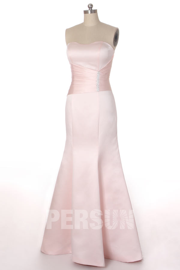 robe de soirée sirène rose simple bustier coeur