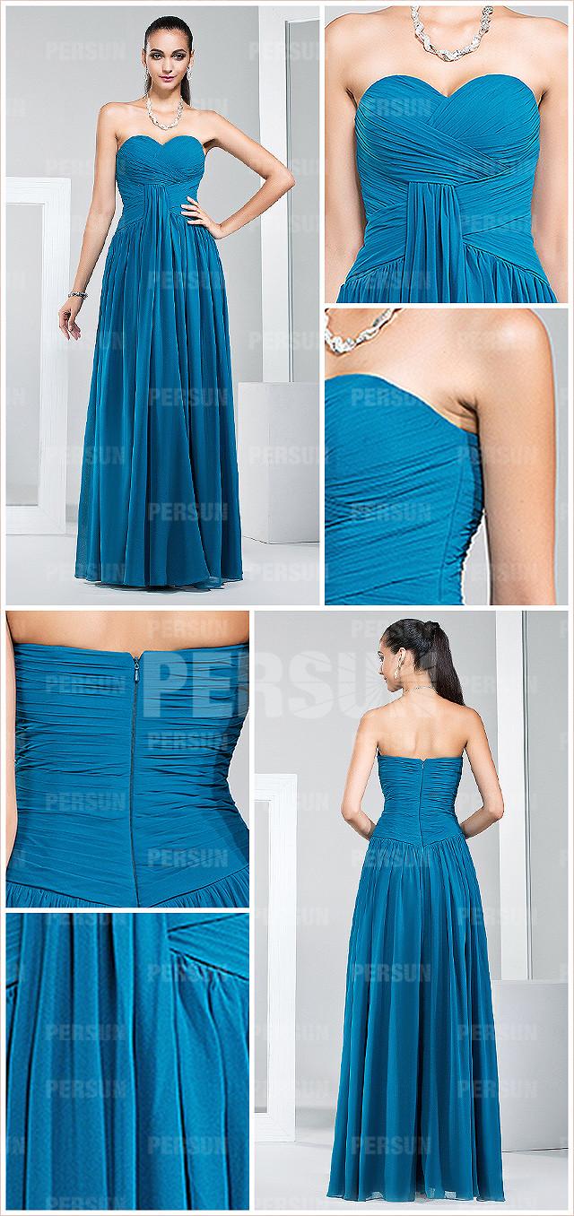 robe bleu foncée demoiselle d'honneur bustier cœur plissée empire