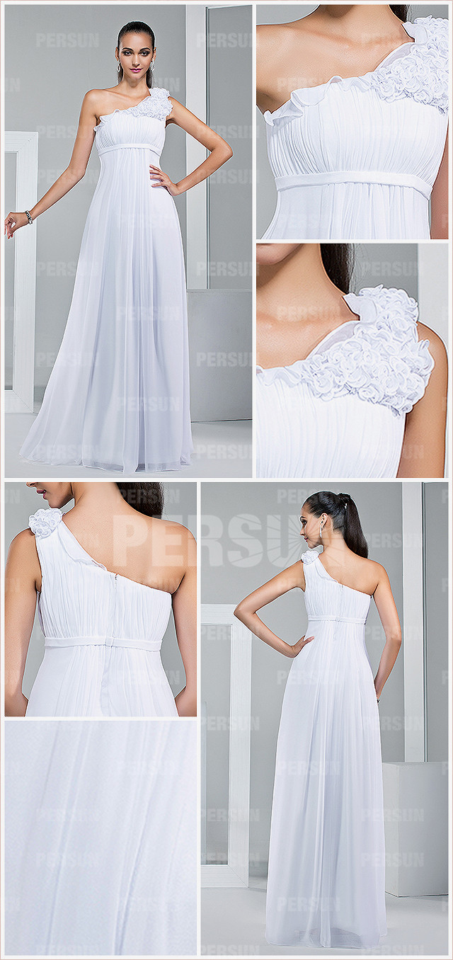 robe blanche pour mariage avec taille Empire