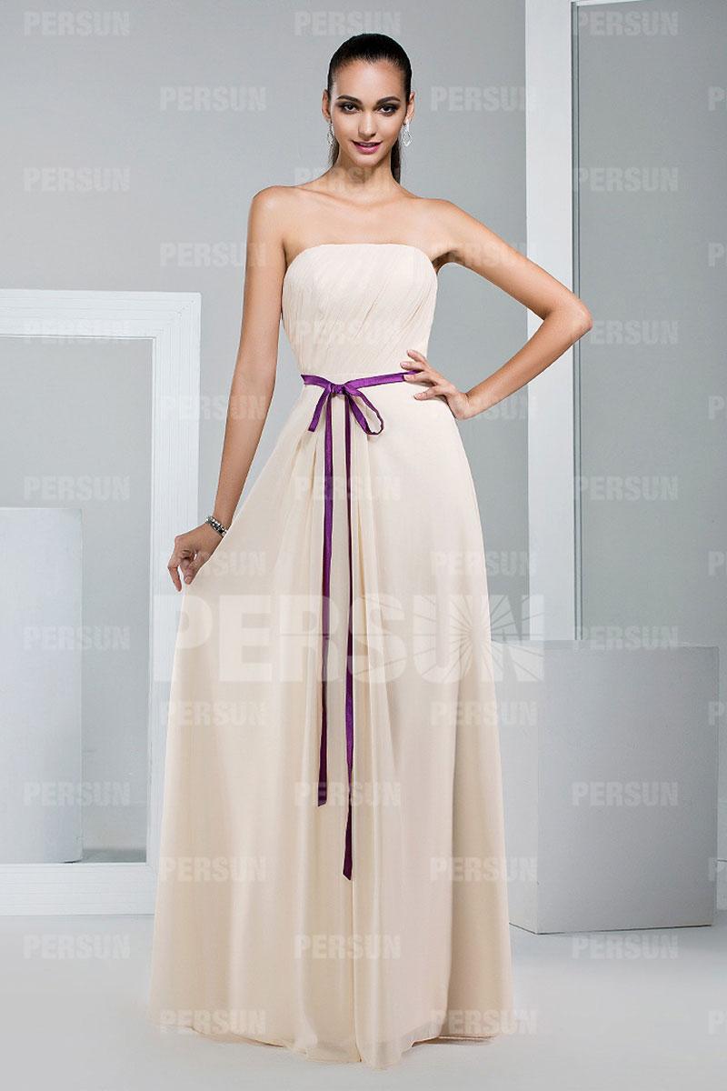 Simple robe demoiselle d'honneur meringue à ceinture parme