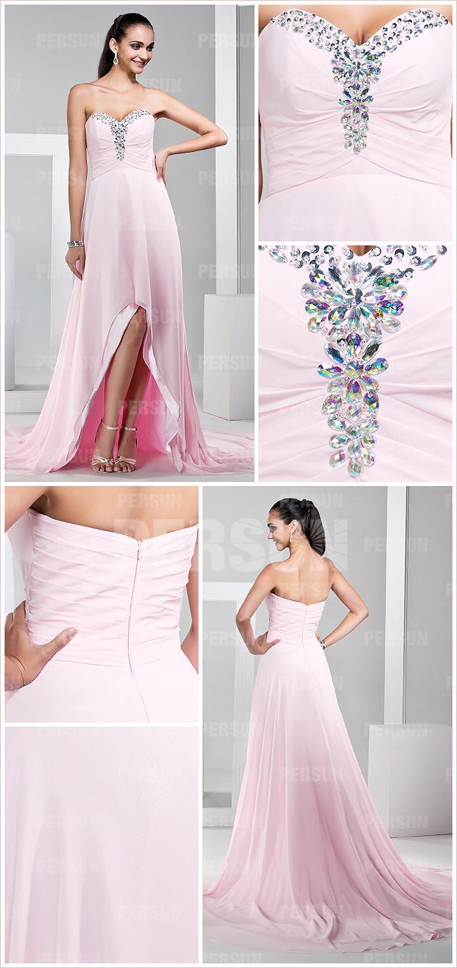 robe de gala bustier cœur à bijoux rose pâle courte devant longue derrière
