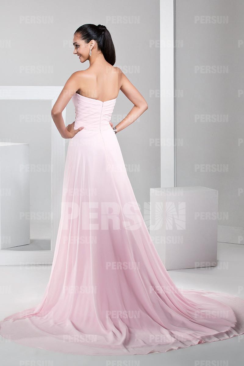 Robe rose bustier en cœur strassée courte devant longue derrière