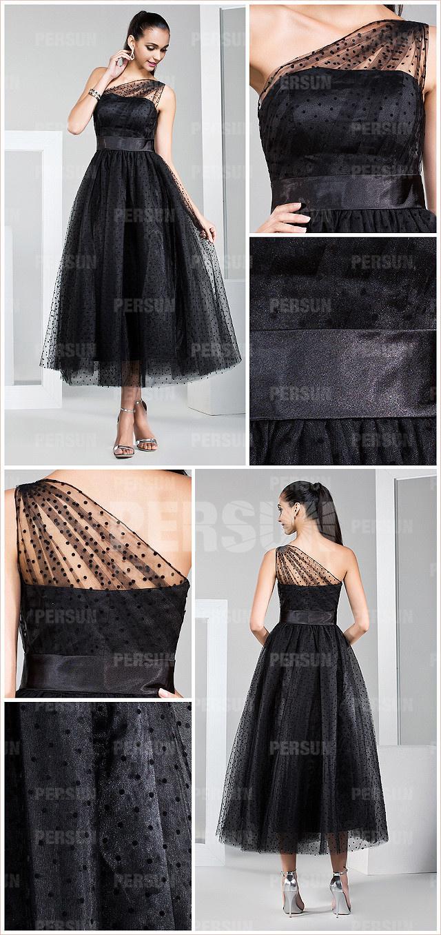 robe noire chic de femme habillée style asymétrique mi-longue