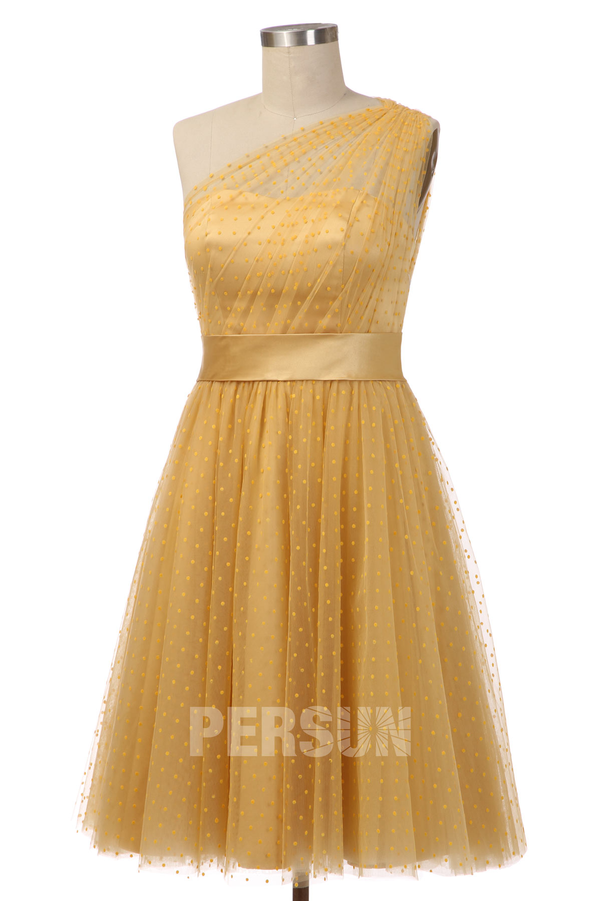 robe de soirée mi-longue jaune asymétrique à pois en tulle