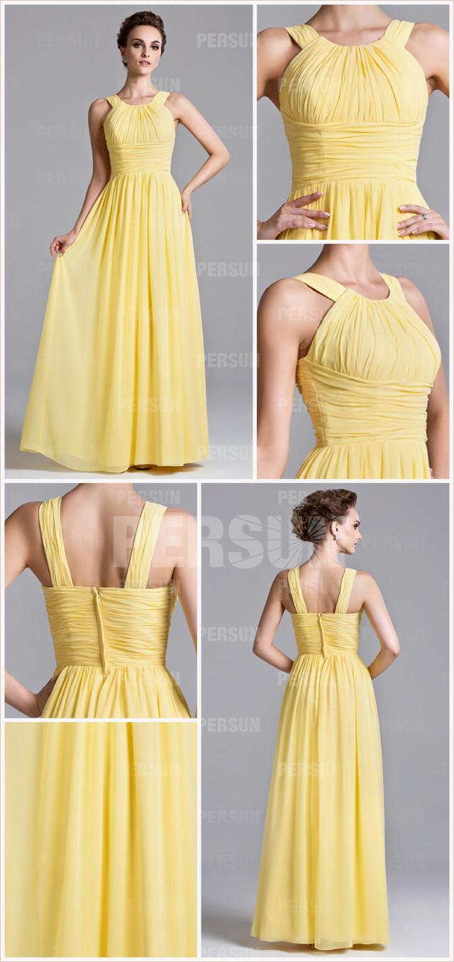 robe colonne de soirée longue jaune simple en mousseline