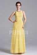 Schönes A-Linie gelbes langes Ärmelloses Abendkleid aus Chiffon