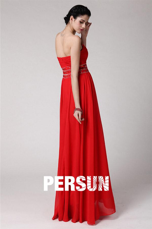 Robe soirée bustier rouge plissée empire longue sol