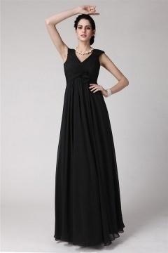 Noire robe longue en mousseline pour soirée