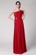 Elegantes Ein Schulter Rotes Ruching Langes Abendkleider aus Chiffon