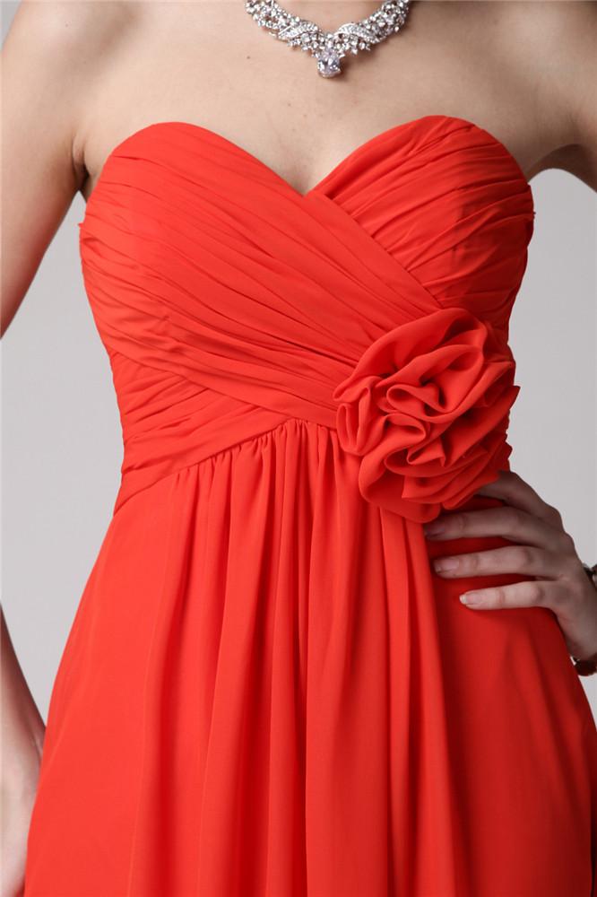 Chic robe rouge habillée pour cokctail mariage taille à fleur