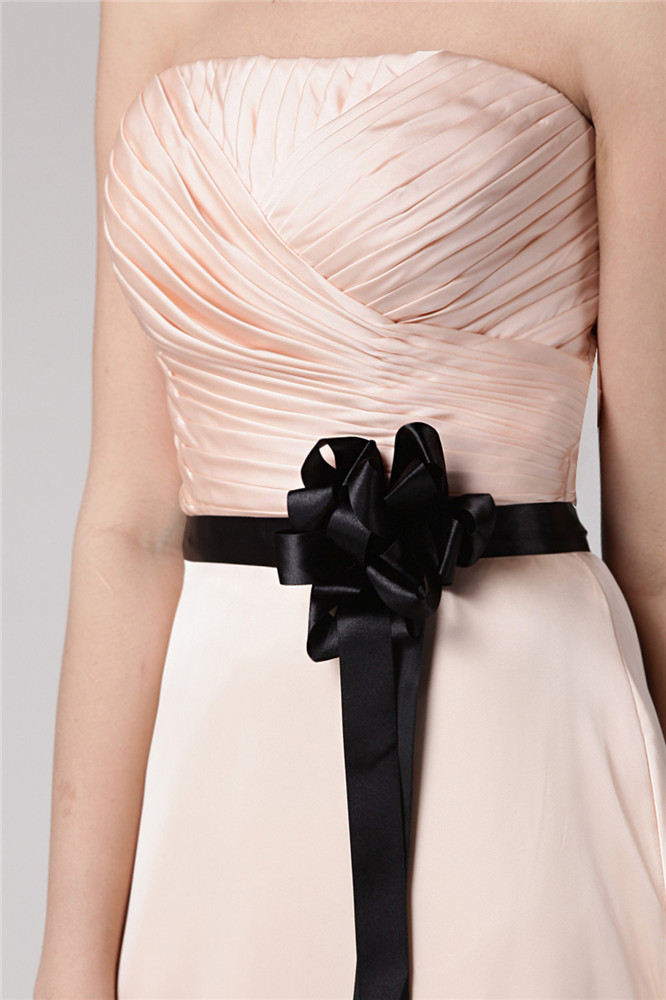 Tendance robe pêche longue bustier coeur avec nœud papillon noir pour soirée