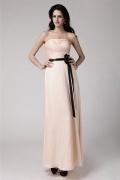 Robe simple demoiselle d'honneur avec ceinture noire