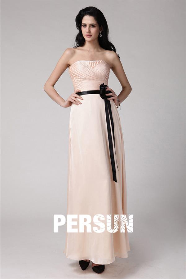 robe de soirée longue nude bustier drapé avec ceinture noire