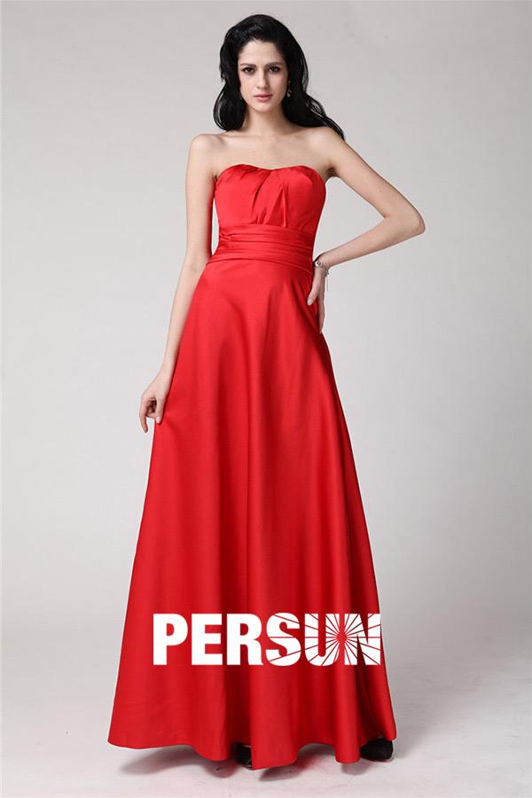 Robe soirée bustier rouge longue style empire
