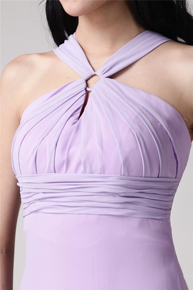 allure robe violet pastel longue empire à col halter pour demoiselle d'honneur