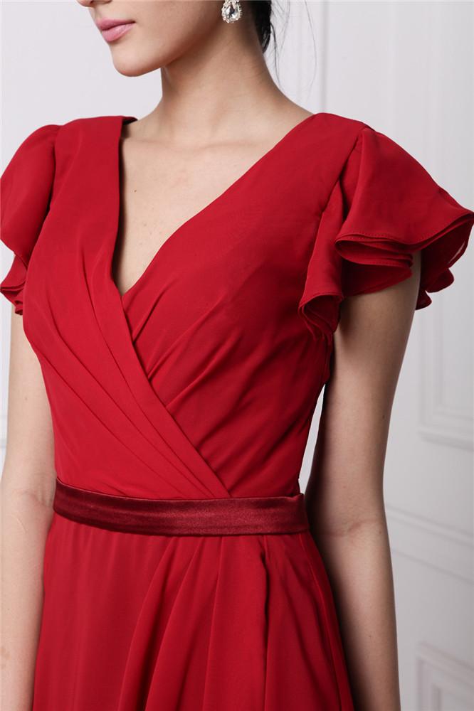2d1d1f214d6 Robe longue rouge à cache-coeur manches courtes pour soirée ou ...