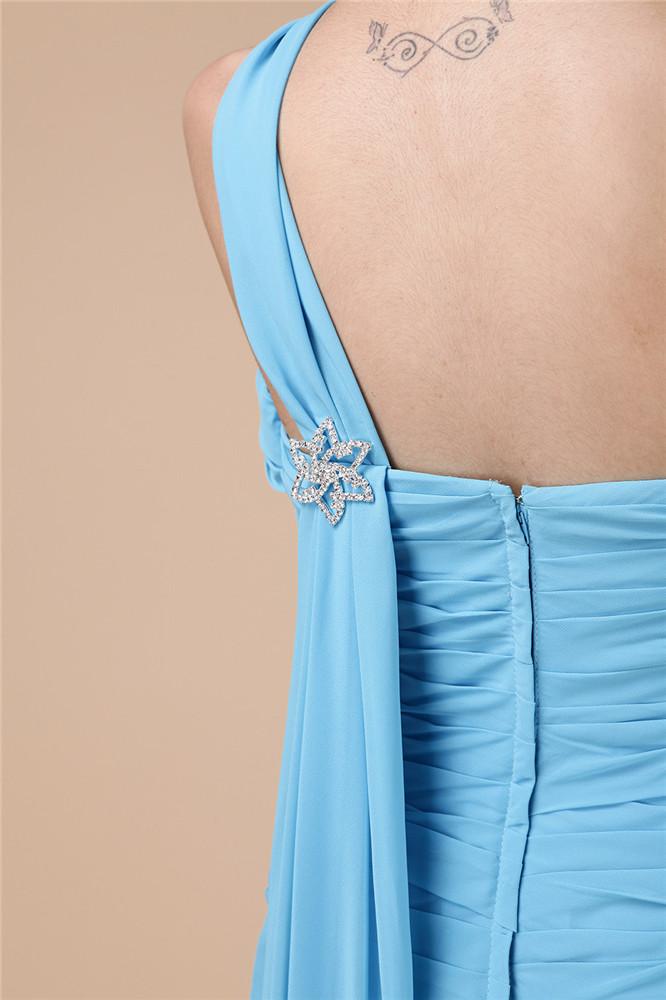 Robe demoiselle d'honneur bleue asymétrique longue plissée & bijoutée