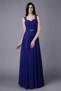 Modisches A-Linie blaues Bodenlanges Abendkleider aus Chiffon