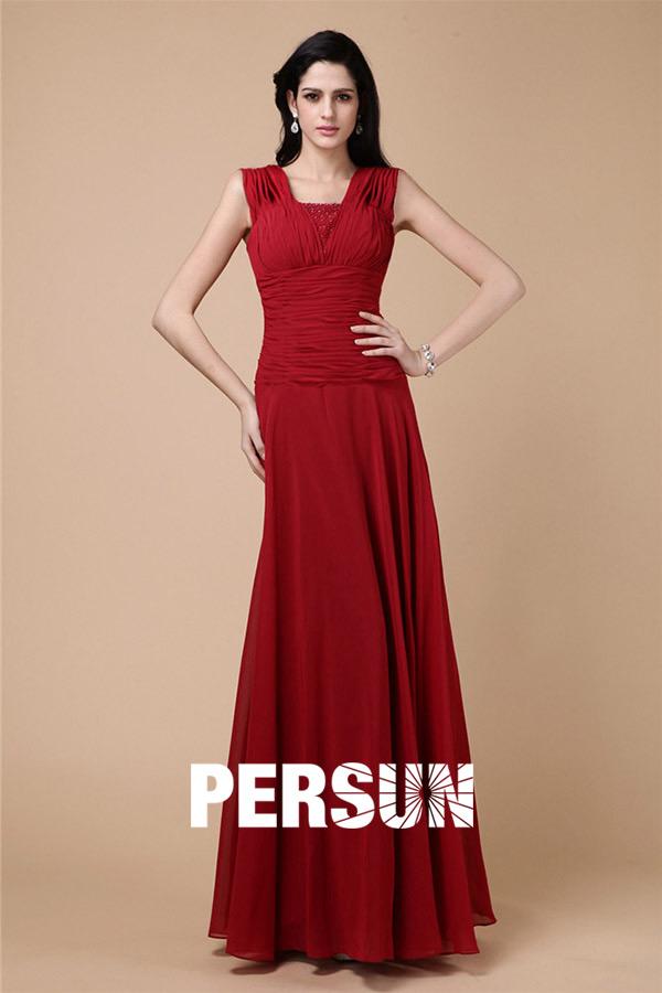Robe soirée rouge plissée style empire longue sol