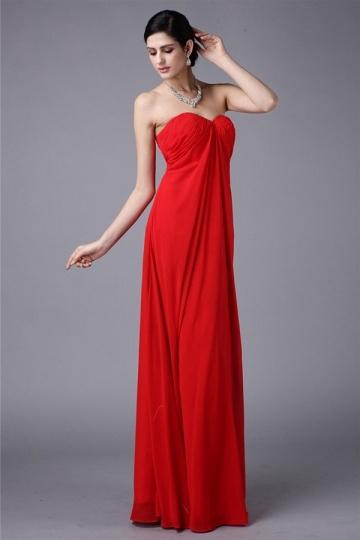 1605950551c71 Robe rouge empire simple pour demoiselle d honneur en mousseline ...