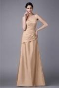 Chic Taffeta Strapless Ruffles Mermaid Floor Length Formal Bridesmaid Dress
