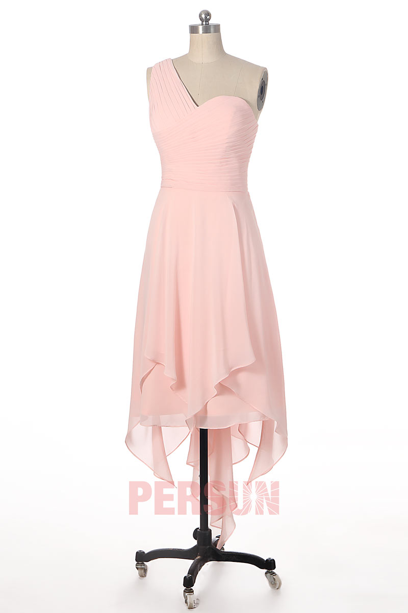robe de cérémonie courte devant longue derrière rose poudré asymétrique bustier plissé