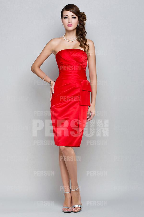 Robe cocktail bustier rouge courte avec pochette